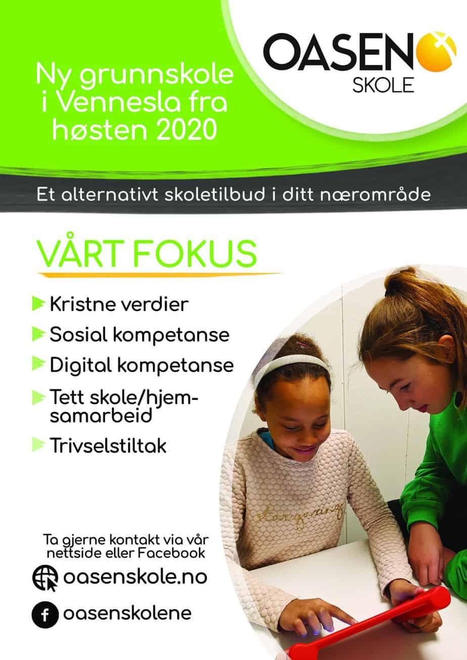 Plakat for Oasen skole Vennesla